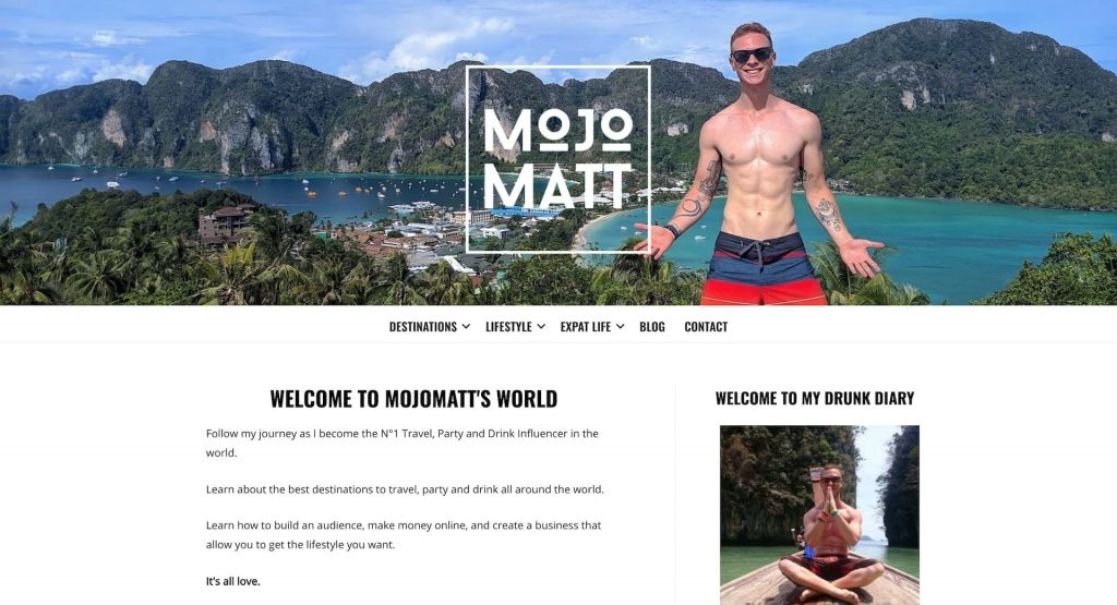 screenshot of mojomatt blog