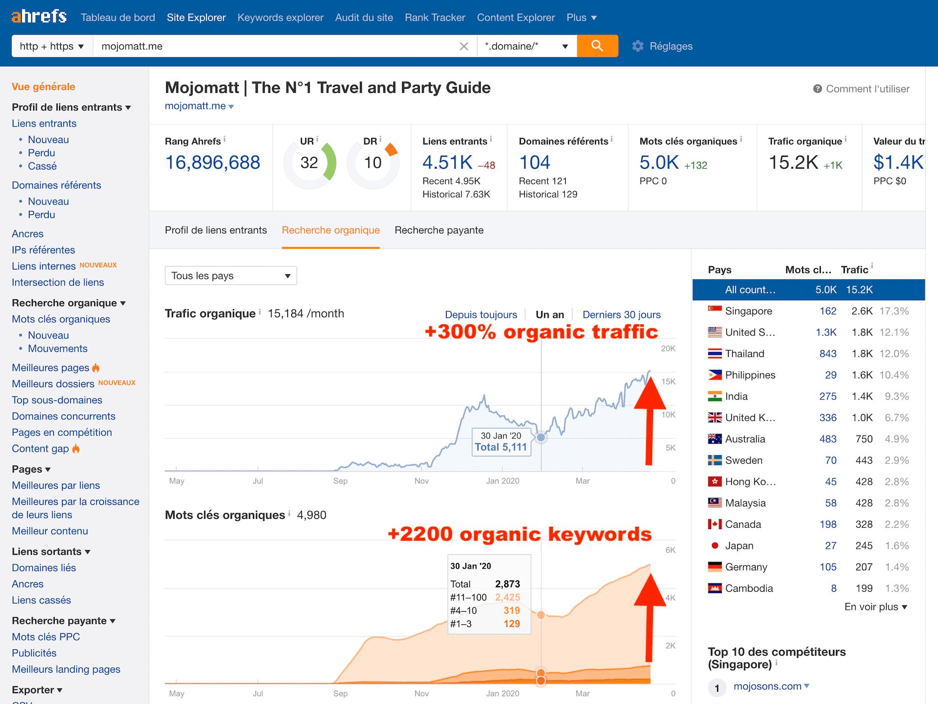 mojomatt.me case study 2020 ahrefs organic trafic overview